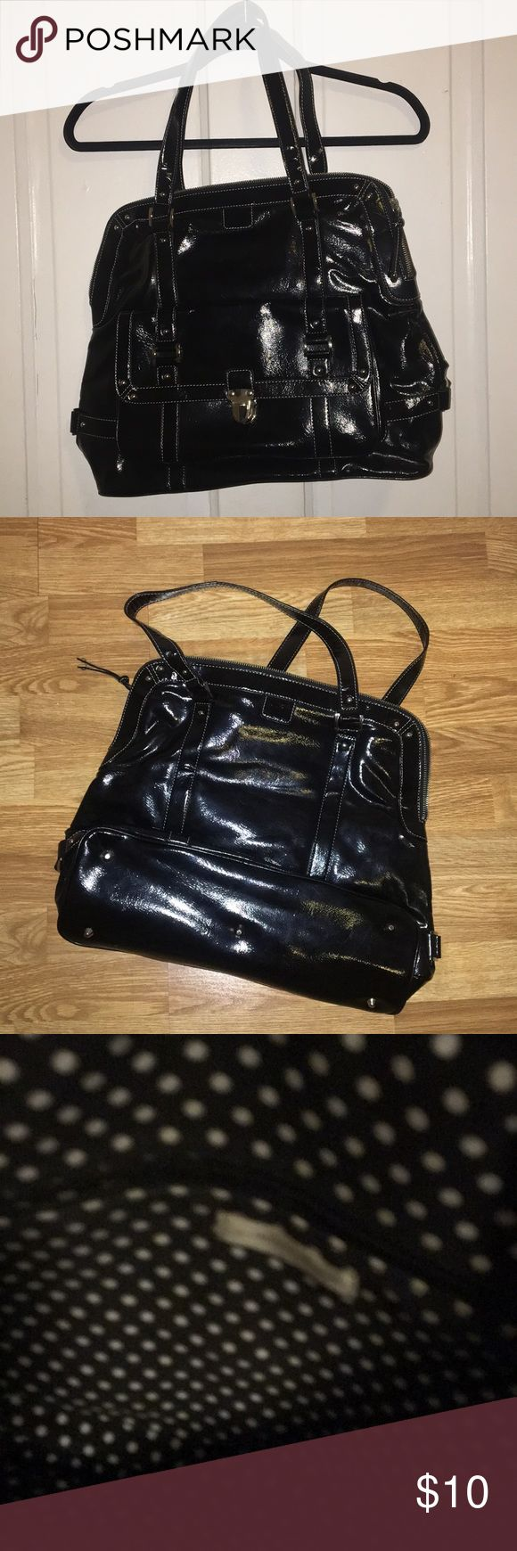 Patent Leather Tote Patent Leather Tote (faux) Pocket on outside Two pockets on the Inside Perfect for your laptop and notebook along with other purse essentials  Originally purchased at Target Bags Totes