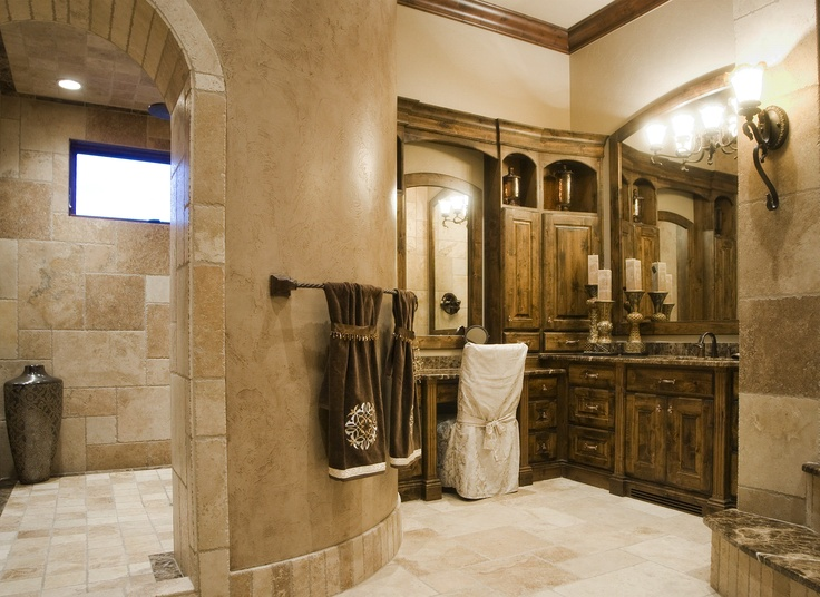 Old world style cabinets bathroom lots of storage nice - Old fashioned bathroom furniture ...