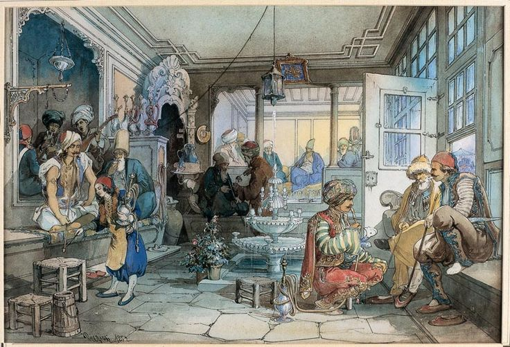 A cafe in Istanbul Watercolour, Ottoman Empire, Amedeo Preziosi. In an era when postal cards were still at their beginning and so was the photographic art, Preziosi offered the European tourists and visitors of Istanbul drawings of the city and the surroundings.