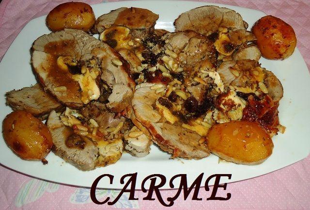 Cordero relleno  con tortilla y frutos secos