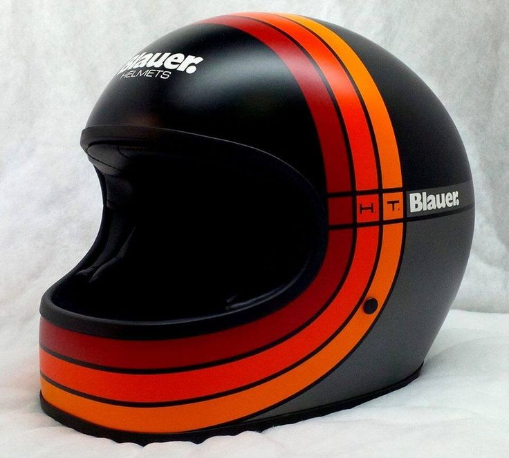 vintage full face helmet in black with red, orange & yellow stripes