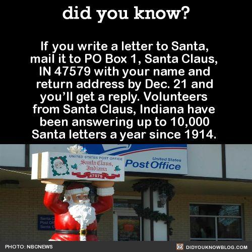 P.O. Box 1   Santa Claus, IN 47579   BONUS: Funny Santa letters   Source