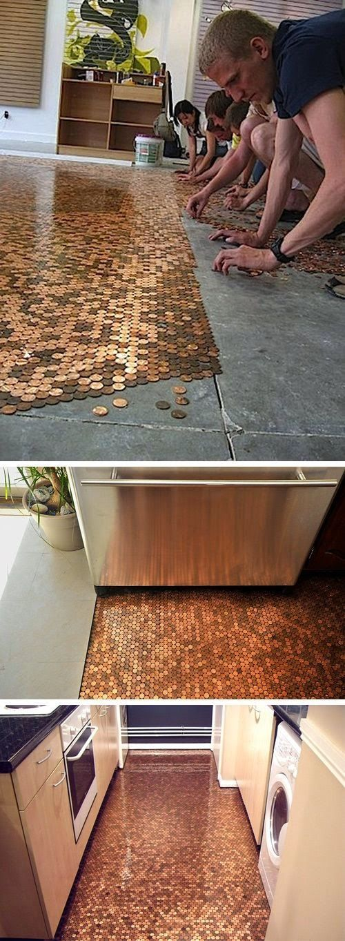 DIY Penny Floor- that's just cool .   Not sure where we'd actually put this