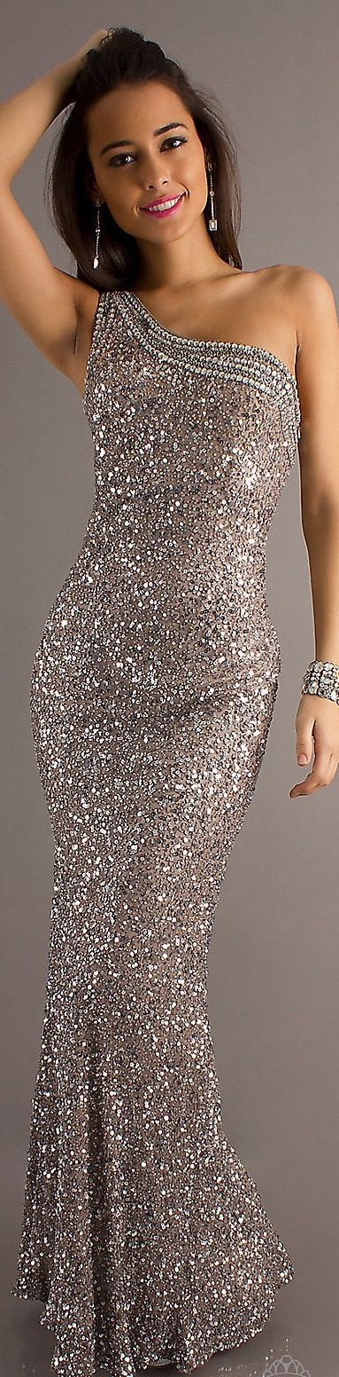 The Chic Technique:  Very pretty one shouldered sequined gown.
