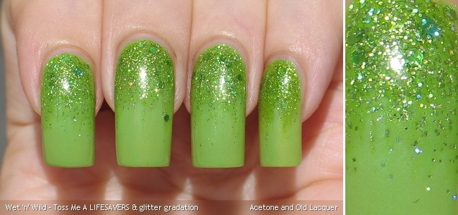 Acetone and Old Lacquer: Wet 'n' Wild Toss Me A LIFESAVERS & glitter gradation