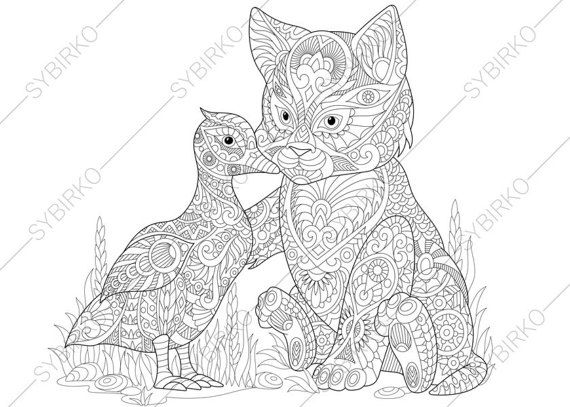 Cat and Duck Adult Coloring Book Page. by ColoringPageExpress
