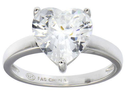 Bella Luce(R) 5.38ct Heart Shape Diamond Simulant Rhodium Over Silver