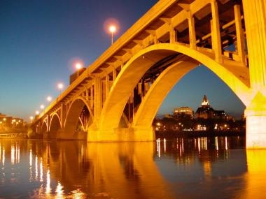 Broadway Bridge at night.  Saskatoon, Saskatchewan