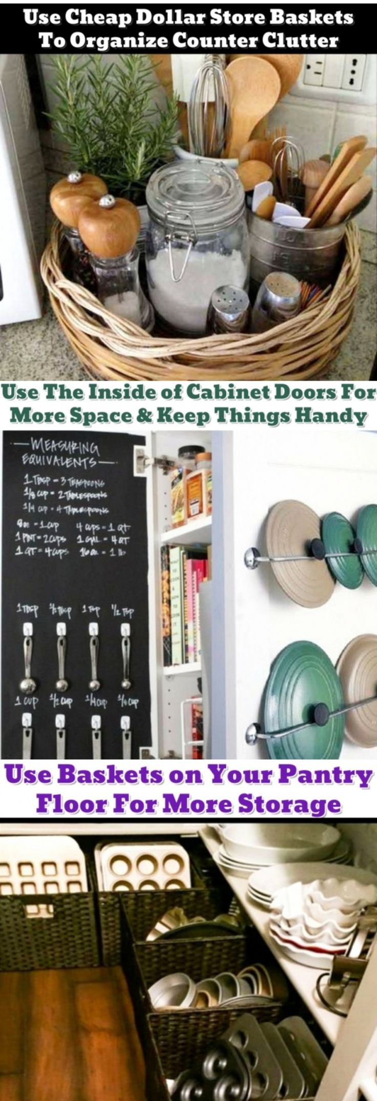 Clever ideas for organizing the kitchen - and for organizing the clutter - haha!  Very helpful for small kitchens with limited storage space.