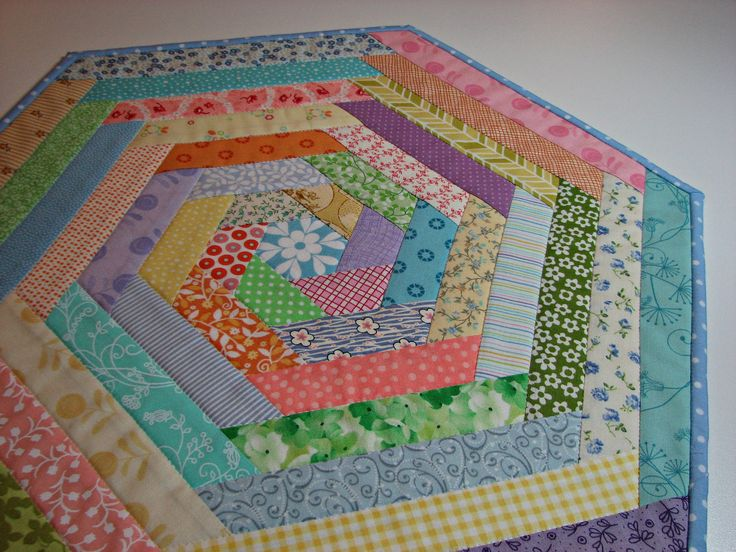 Quilted Table Topper, Easter Spring Table Topper, Pastel Prints Hexagon Table Mat, Quiltsy Handmade by VillageQuilts on Etsy