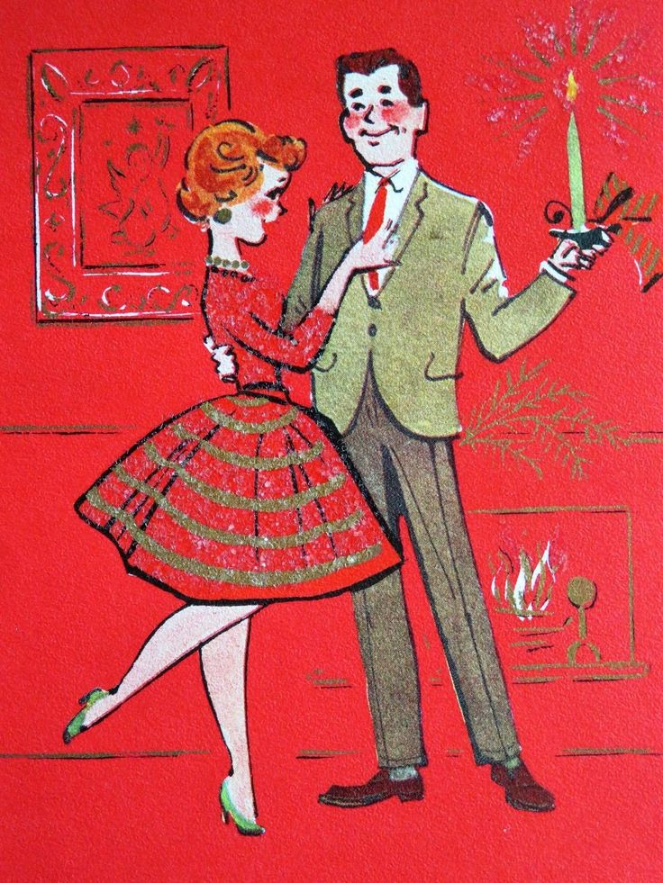 Vintage Christmas Card Pretty Girl Glitter Dress Husband In Suit & Wife 5 Images 3