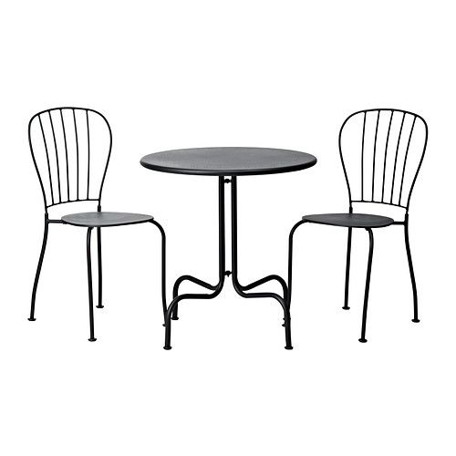 LÄCKÖ Table and 2 chairs IKEA Easy to keep clean; simply wipe with a damp cloth. Cut out design in the seat; allows water to drain through.