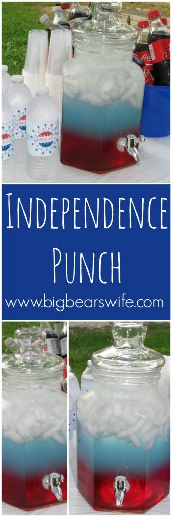 Independence Punch -- Ready for the most patriotic drink around? This Independence Punch will totally wow guest for 4th of July, Memorial and Veteran's day!
