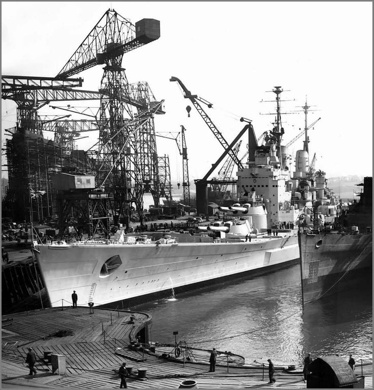 15 in battleship HMS Vanguard, the Royal Navy's biggest and fastest, pictured in 1946, the year she was commissioned (the last anywhere).  She was laid down as a 'one off' at the outbreak of WW2 to make use of the 8 stored 15 in guns from Glorious (see nearby) and Courageous, but competing resource priorities delayed her completion until post war.  She stayed in commission till 1960.