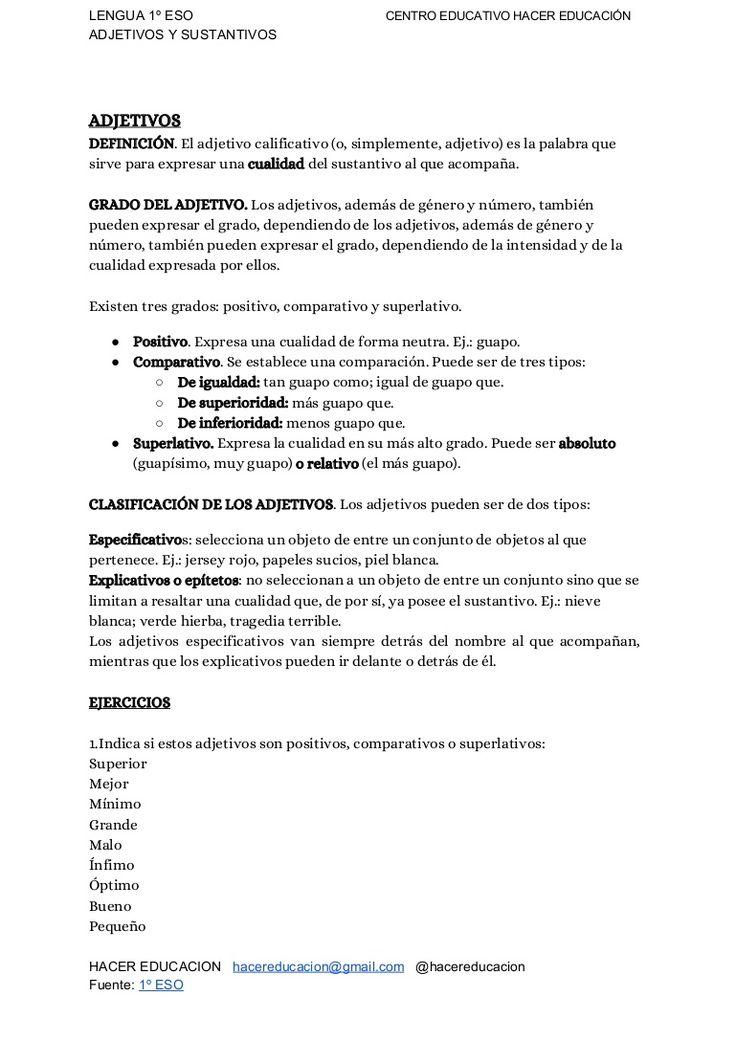 Lengua 1º eso: Adjetivos y Sustantivos #examen #ejercicios #educación