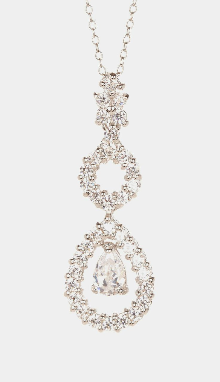 Sterling Silver Teardrop CZ Pendant Necklace