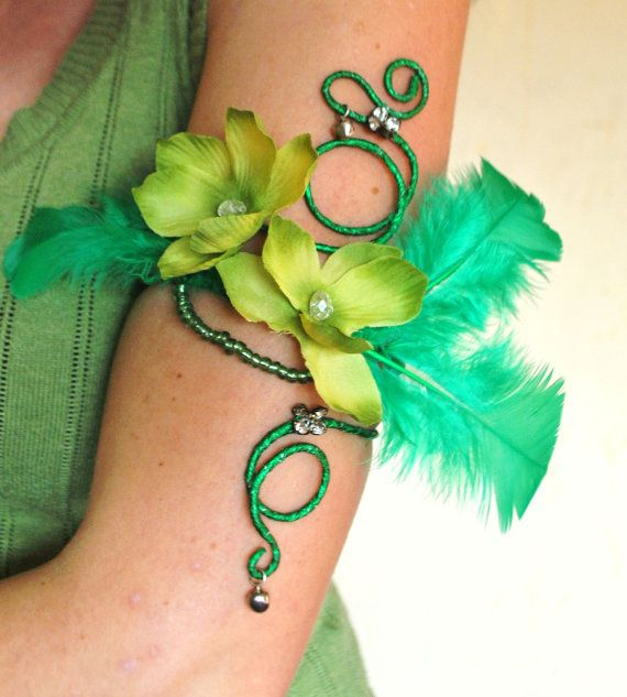Green upper arm cuff arm wrap Tinkerbell costume absinthe