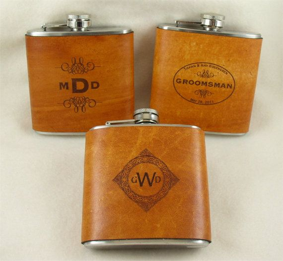 Groomsmen Flasks with Hand Dyed Engraved by KillorglinCreations, $90.00  Set of 5 leather wrapped flasks.