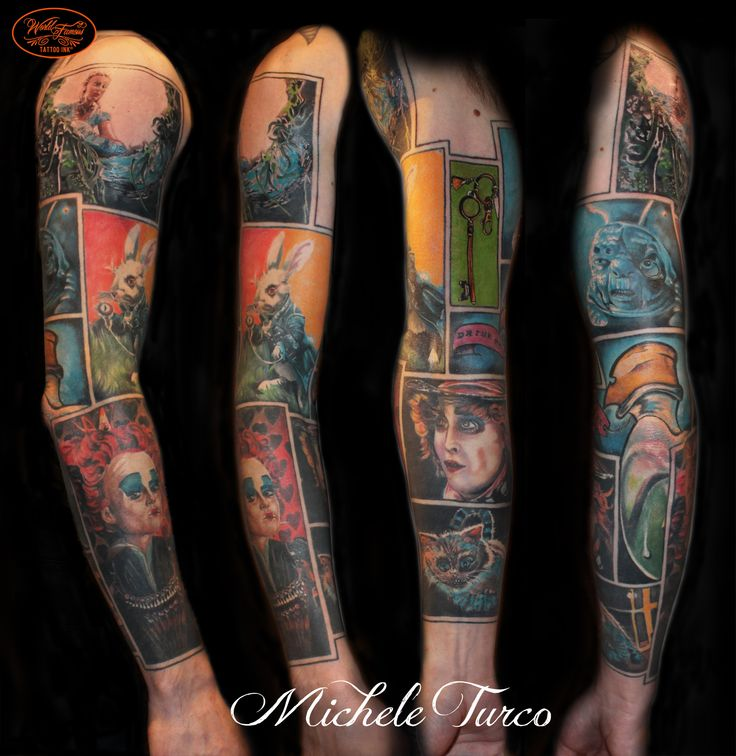 Full arm dedicated to Alice in Wonderland by Michele Turco
