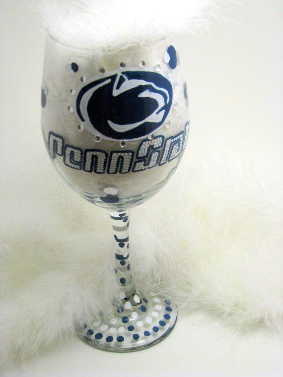 Penn State wine glass