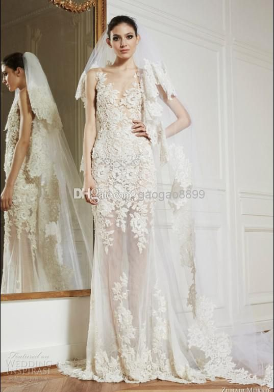 Whole Sheer Wedding Dress 2017 Zuhair Murad New Neck Lace Liques Y