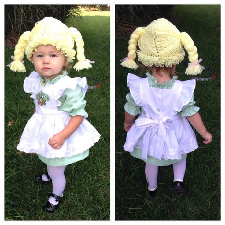 Cabbage Patch Kids Halloween costume made with vintage Simplicity pattern 9511. Wig pattern purchased from Etsy.