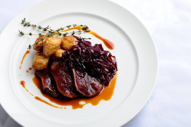 Simon Rogan's autumnal and earthy venison leg recipe is full of flavour, with the venison given a divine smokiness by cooking in hay