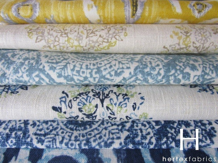 Collection: Slow Living  Couture    Slow Living consists of prints reminiscent of Middle Eastern and Mediterranean antique tile designs, mainly in shades of turquoise, indigo and sunshine yellow on a broken white cotton linen ground. It's suited to all décor applications.