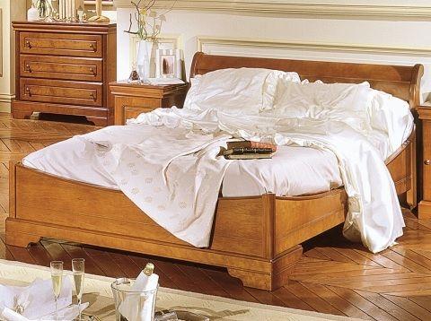 Minet bed Natalie , 180 x 200,koets,stijl ledikant louis philippe,laag voeteinde,140,160,180 cm.,kersen,draaideurkast met spiegel,frankrijk,theo bot