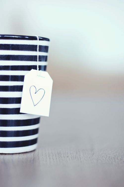 cup of tea: Teas Time, Heart, Black White, Cups Of Teas, Valentines Day, Strips, Things, Stripes, Saturday Mornings