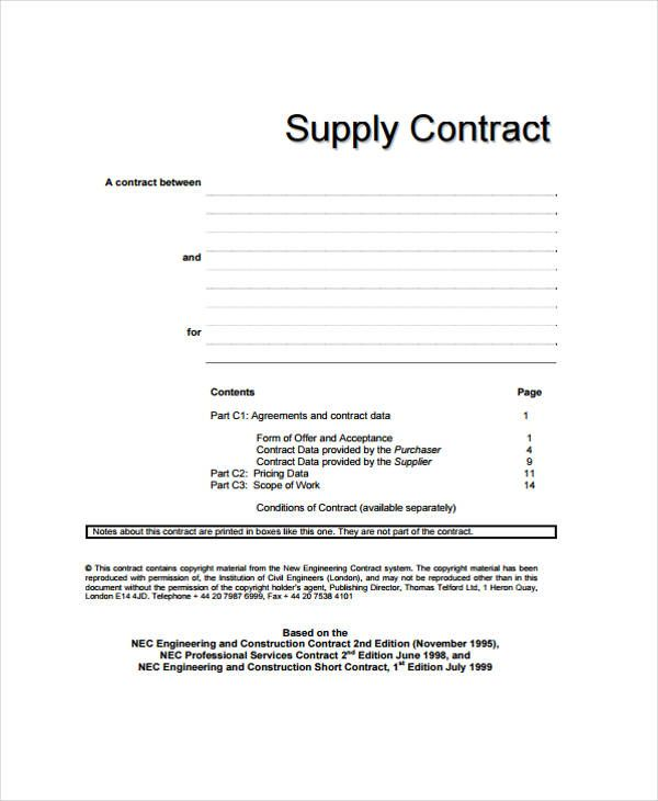 A Supply Agreement Template Is An Agreement By Which A Seller