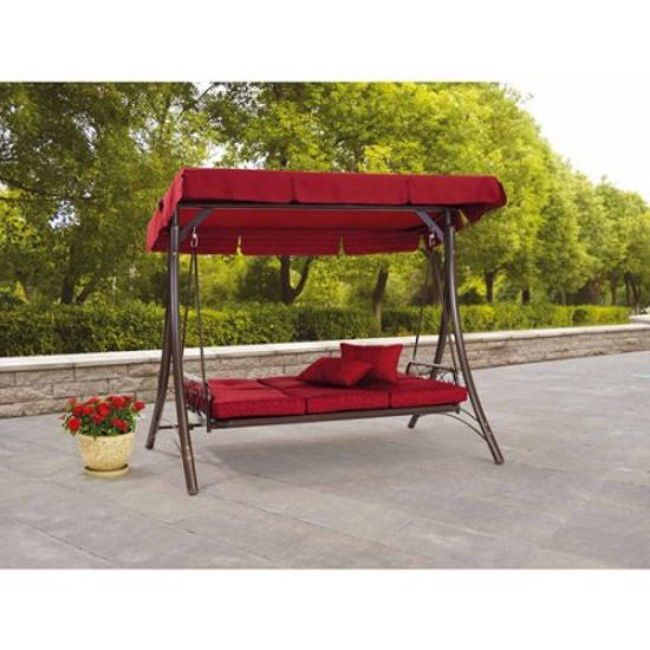 Outdoor Porch Swing With Canopy Patio Steel Furniture Convertible 3 Seat Daybed #swing #daybed #patioswing #porchswing