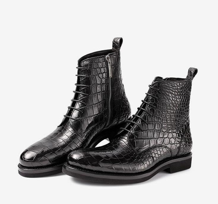 Black Genuine Alligator Boots