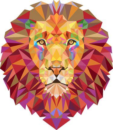 Vinilo decorativo león geométrico
