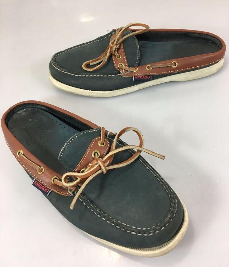 Sebago Docksides Womens 8 M Navy Blue Brown Leather Boat Deck Slides Shoes Flats #Sebago #BoatShoes