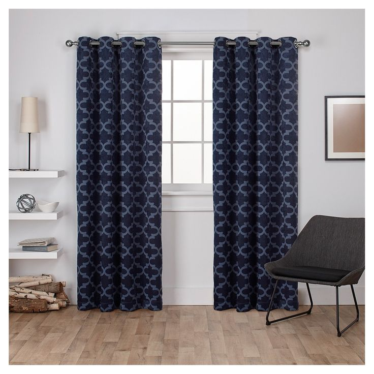 "Cartago Insulated Woven Blackout Grommet Top Window Curtain Panel Pair Peacoat (54""x108"") - Exclusive Home"