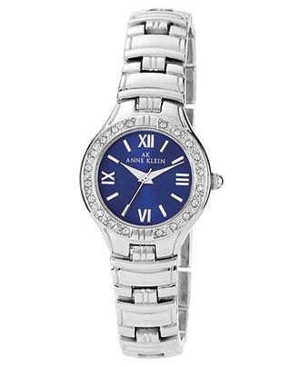 Anne Klein Watch, Women's Silver Tone Bracelet 26mm 10-9605BLSV - Anne Klein - Jewelry & Watches - Macy's