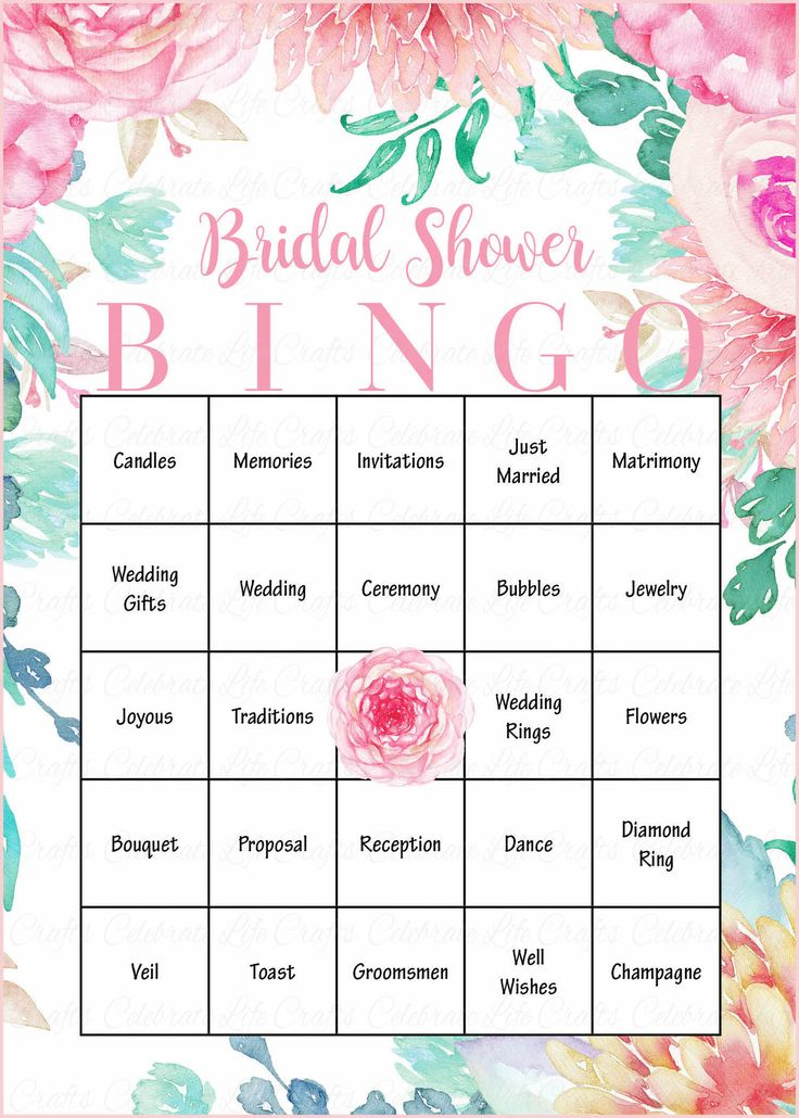 Floral Bridal Bingo Cards - Printable Download - Prefilled - Bridal Shower Game for Wedding - Pink Rose Floral BR004
