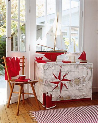 Very Red and cheery Nautical Map with Nautical Compass Dresser and Sailboats. Color to your decor scheme..easy