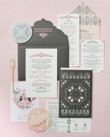 *Don't know if you can afford laser-cutting but this is a nice spread. ps if you wanna diy it, the home machines take a long time per design.        *This laser-cut invitation was inspired by Old World Spanish wrought-iron patterns