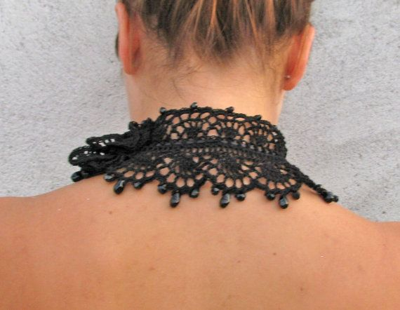 Crocheted BLACK glass beads choker/necklace by kovale on Etsy
