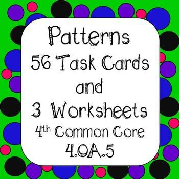 Students will look at patterns with numbers and objects. Task cards are differentiated and organized by color frames. 56 Task Cards and 3 No Prep Printables Task Cards are color coded for organization 8 Purple framed borders - Students will solve patterns with addition rule 8 Green framed task cards - Students will solve patterns with subtraction rule 8 Blue framed task cards - Students will solve patterns with multiplication rule 8 Pink framed task cards - Students will solve patterns with…