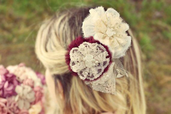 wine lace hair brooch ivory hair brooch bridal hair pin