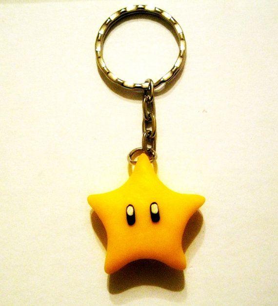 Llaveros de Seta y Estrella de Super Mario Bros. en Fimo