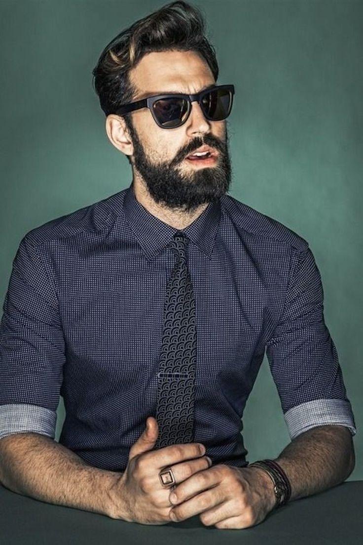 barbe +lunettes de soleil + cravate