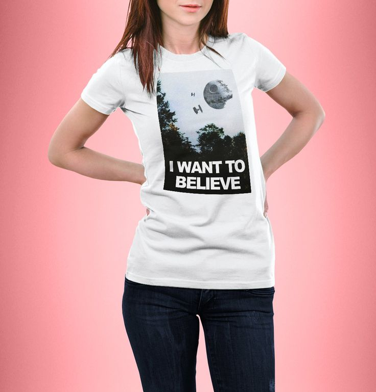 New to CrazyPugPrints on Etsy: I Want to Believe - X Files - Star Wars - Parody - Women Fitted T-Shirt (10.00 GBP)
