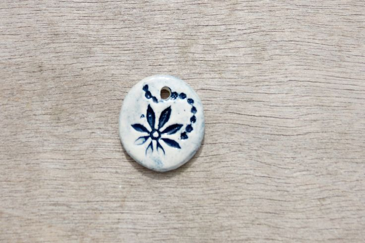 Ceramic pendant, glazed pendant, flower pendant, floral pendant, ceramic disc by BlackRabbitCeramics on Etsy