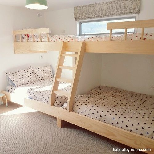 Bunks are the ultimate in flexible sleeping at a holiday home. These were built by the homeowner; the walls are Resene Double Alabaster. http://www.habitatbyresene.co.nz/decorating-bach