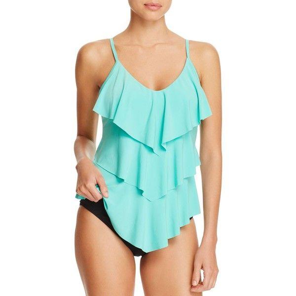 Magicsuit Solid Rita Tankini Top ($114) ❤ liked on Polyvore featuring swimwear, bikinis, bikini tops, pool blue, swimming costume, blue bikini top, swimsuits two piece, blue swim suit and blue bathing suit