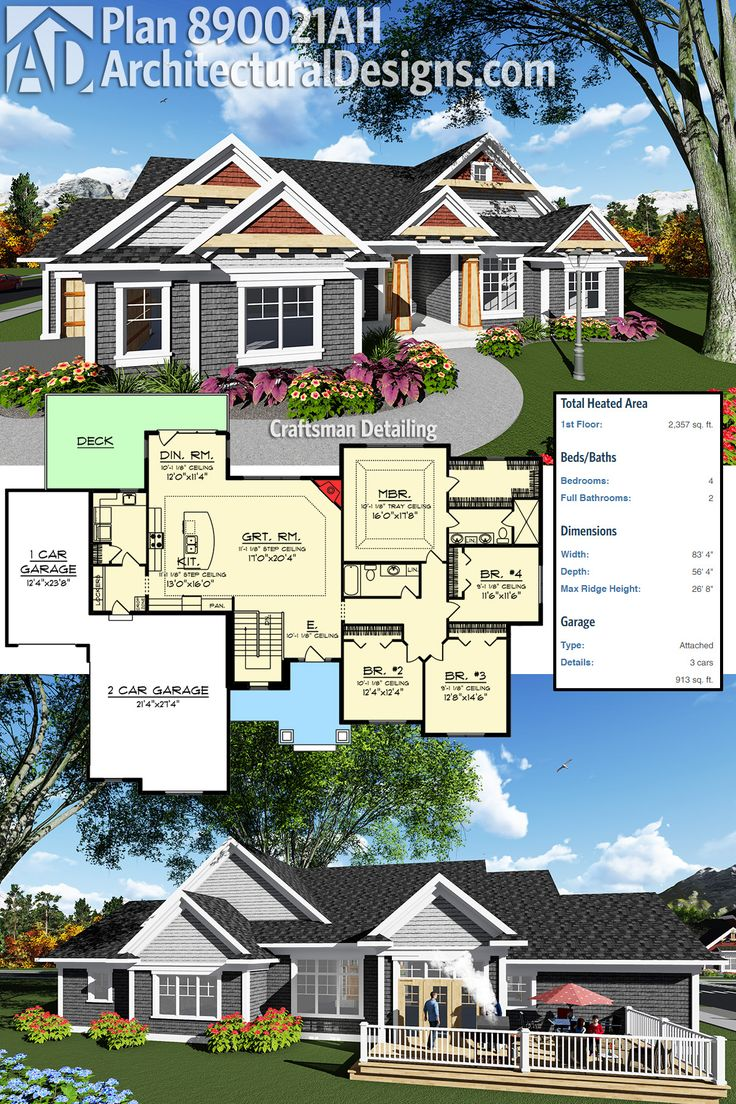 Architectural Designs Craftsman House Plan 890021AH gives you over 2,300 square feet of heated living space and one-level living. Ready when you are. Where do YOU want to build?